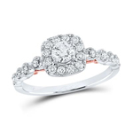 Gold Engagement Rings Natural Round 0.3 Carats Diamond Solid 14Kt White Gold