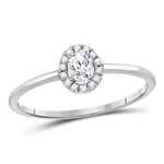 Round Diamond Engagement Rings Natural  0.21 Carats Diamond Solid 10Kt White Gold