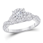 Round Engagement Rings For Women Natural  0.19 Carats Diamond Solid 14Kt White Gold