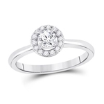 Round Engagement Rings Natural  0.33 Carats Diamond Solid 14Kt White Gold