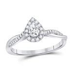Pear/Round Diamond Engagement Rings Natural  0.2 Carats Diamond Solid 14Kt White Gold