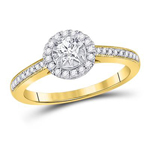 Round Engagement Rings For Women Natural  0.17 Carats Diamond Solid 14Kt Yellow Gold