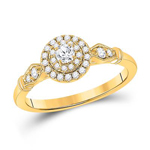 Round Engagement Rings Natural  0.1 Carats Diamond Solid 14Kt Yellow Gold