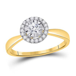 Round Engagement Rings For Women Natural  0.22 Carats Diamond Solid 14Kt Yellow Gold