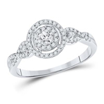Gold Engagement Rings Natural Round 0.16 Carats Diamond Solid 10Kt White Gold