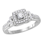 Round Engagement Rings Natural  0.13 Carats Diamond Solid 10Kt White Gold
