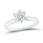 Round Diamond Engagement Rings Natural  0.96 Carats Diamond Solid 14Kt White Gold