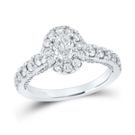 Oval/Round Engagement Rings For Women Natural  0.5 Carats Diamond Solid 14Kt White Gold