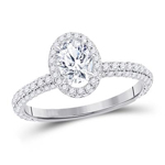 Gold Engagement Rings Natural Oval/Round 0.7 Carats Diamond Solid 14Kt White Gold