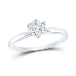 Round Diamond Engagement Rings Natural  0.72 Carats Diamond Solid 14Kt White Gold