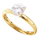 Round Engagement Rings For Women Natural  0.74 Carats Diamond Solid 14Kt Yellow Gold