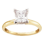 Gold Engagement Rings Natural Princess 0.89 Carats Diamond Solid 14Kt Yellow Gold