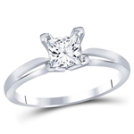 Princess Diamond Engagement Rings Natural  0.88 Carats Diamond Solid 14Kt White Gold