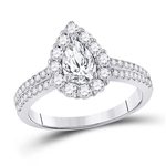 Pear/Round Engagement Rings For Women Natural  0.62 Carats Diamond Solid 14Kt White Gold