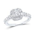 Round/Princess Diamond Engagement Rings Natural  0.75 Carats Diamond Solid 14Kt White Gold