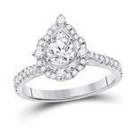 Round Engagement Rings For Women Natural  0.51 Carats Diamond Solid 14Kt White Gold