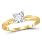 Gold Engagement Rings Natural Princess 0.72 Carats Diamond Solid 14Kt Yellow Gold