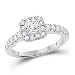 Princes/Round Diamond Engagement Rings Natural  0.5 Carats Diamond Solid 14Kt White Gold