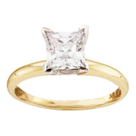 Princes Engagement Rings For Women Natural  1.01 Carats Diamond Solid 14Kt Yellow Gold