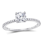 Gold Engagement Rings Natural Round 0.7 Carats Diamond Solid 14Kt White Gold