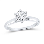 Round Engagement Rings Natural  1.02 Carats Diamond Solid 14Kt White Gold