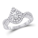 Pear/Round Diamond Engagement Rings Natural  0.31 Carats Diamond Solid 14Kt White Gold