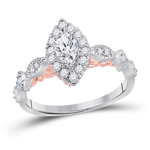 Marquise/Round Engagement Rings For Women Natural  0.32 Carats Diamond Solid 14Kt White Gold