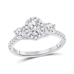 Oval/Round Engagement Rings Natural  0.5 Carats Diamond Solid 14Kt White Gold