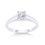 Princess Engagement Rings For Women Natural  0.49 Carats Diamond Solid 14Kt White Gold