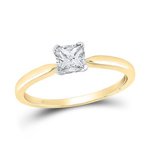 Gold Engagement Rings Natural Princess 0.51 Carats Diamond Solid 14Kt Yellow Gold