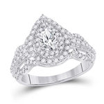 Pear/Round Engagement Rings Natural  0.5 Carats Diamond Solid 14Kt White Gold