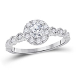 Round Diamond Engagement Rings Natural  0.31 Carats Diamond Solid 14Kt White Gold