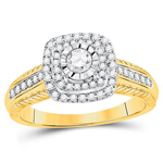Round Diamond Engagement Rings Natural  0.19 Carats Diamond Solid 14Kt Yellow Gold