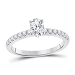 Oval/Round Engagement Rings For Women Natural  0.51 Carats Diamond Solid 14Kt White Gold