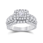 Gold Engagement Rings Natural Princess/Round 0.33 Carats Diamond Solid 14Kt White Gold