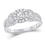 Round Engagement Rings Natural  0.3 Carats Diamond Solid 14Kt White Gold