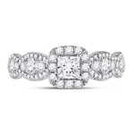 Princess/Round Engagement Rings For Women Natural  0.33 Carats Diamond Solid 14Kt White Gold