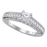 Princess/Round Engagement Rings Natural  0.4 Carats Diamond Solid 14Kt White Gold