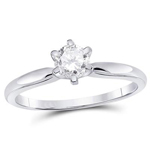 Round Diamond Engagement Rings Natural  0.54 Carats Diamond Solid 14Kt White Gold