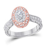 Oval/Round Engagement Rings For Women Natural  0.2 Carats Diamond Solid 14Kt Rose Gold