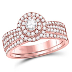 Gold Engagement Rings Natural Round 0.14 Carats Diamond Solid 14Kt Rose Gold