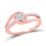 Round Engagement Rings Natural  0.04 Carats Diamond Solid 10Kt Rose Gold