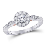 Round Engagement Rings For Women Natural  0.41 Carats Diamond Solid 14Kt White Gold