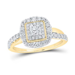 Gold Engagement Rings Natural Princess/Round 0.26 Carats Diamond Solid 14Kt Yellow Gold