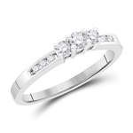 Round Diamond Engagement Rings Natural  0.25 Carats Diamond Solid 14Kt White Gold