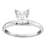 Princess Diamond Engagement Rings Natural  0.17 Carats Diamond Solid 14Kt White Gold
