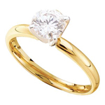 Round Engagement Rings For Women Natural  0.26 Carats Diamond Solid 14Kt Yellow Gold