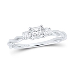 Princess/Round Engagement Rings Natural  0.3 Carats Diamond Solid 14Kt White Gold