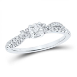 Round Engagement Rings For Women Natural  0.25 Carats Diamond Solid 14Kt White Gold