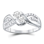 Gold Engagement Rings Natural Round 0.39 Carats Diamond Solid 10Kt White Gold